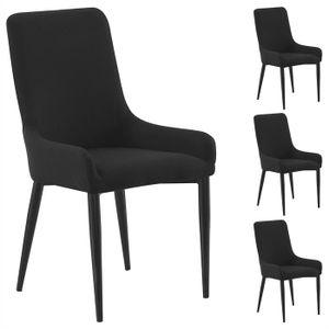 4er Set Stuhl KYLIE Stoffbezug, schwarz