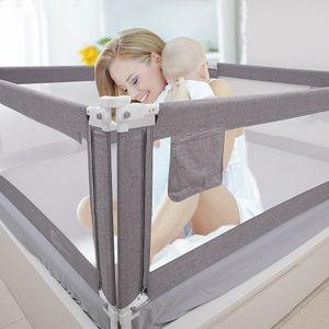 Zehnhase Bettgitter Länge 200 cm 1 Seite Bettschutzgitter Kinderbettgitter Babybettgitter, Absturzsicherung für Kinder, Baby, Grau