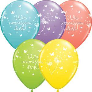 DeCoArt... SET 10 Luftballons Wir vermissen dich farbig bunt mix 28 cm Ballongas geeignet und 10 Ballonverschlüsse Öko