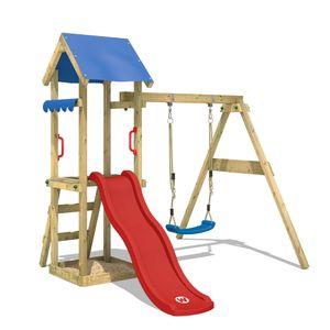 WICKEY Spielturm Klettergerüst TinyWave mit Schaukel & roter Rutsche, Kletterturm mit Sandkasten, Leiter & Spiel-Zubehör