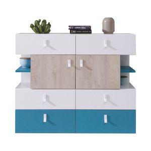 Jugendzimmer - Kommode Aalst 22, Farbe: Eiche / Weiß / Blau - Abmessungen: 90 x 110 x 40 cm (H x B x T)
