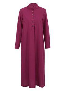 Frauen Casual Long Dress Long Sleeves Seitentaschen Schlitz Vintage Maxi RobeL