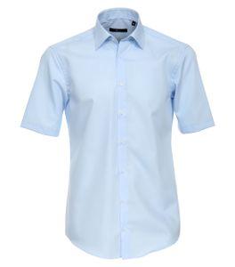 Größe 41 Venti Hemd Hellblau Uni Kurzarm Slim Fit Tailliert Kentkragen 100% Baumwolle Popeline Bügelfrei
