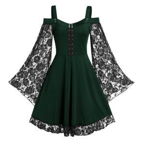 Frauen Gothic Cold Shoulder Long Flared Sleeve Taille Enge Bandage Party Kleid Gruen L.