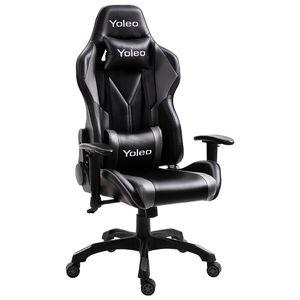 YOLEO Gaming Stuhl Bürostuhl Racing Stuhl Gamer Ergonomischer Stuhl mit Lendenkissen, Hohe Rückenlehne Verstellbarer Drehstuhl, mit einstellte Kopfstütze, 180 kg Belastbarkeit, Kunstleder (Schwarz-Grau)