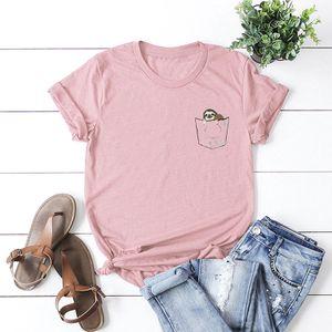 Sommer Frauen T-Shirt Cute Sloth in gefaelschten Pocket Print O Hals Kurzarm Baumwolle Casual TopXL