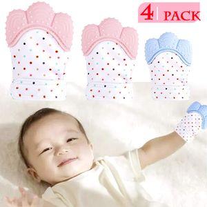 4er Pack Baby Beißhandschuh, Baby Beißhandschuhe, Blau + Pink