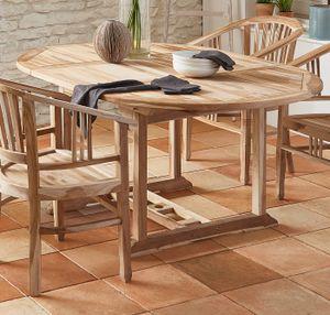 Gartentisch ausziehbar Teak Holz 120 - 170 cm oval BORNEO
