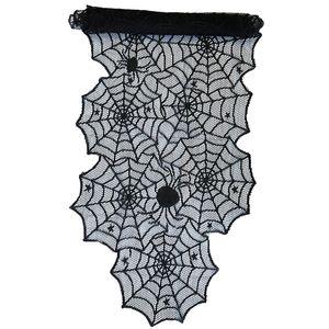 Oblique Unique Tischläufer Läufer mit Spitze Spinnennetzen und Spinnen Halloween Tischdeko Tischband schwarz