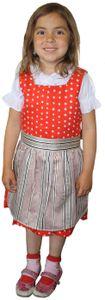 3-tlg Kinder Dirndl Mädchendirndl Dirndlbluse Dirndlschürze Kleid Rot, Größe:116