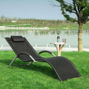 SoBuy OGS38-SCH Sonnenliege Gartenliege Relaxstuhl Liegestuhl mit Kopfkissen Schwarz BHT ca: 63x66x172cm
