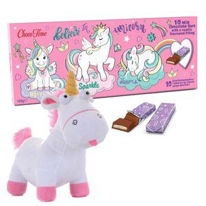 Einhorn Geschenkset mit Plüschtier Unicorn und Schokolade
