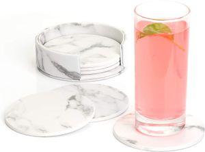 Premium Leder Glasuntersetzer mit Halter 6-er Set Tassenuntersetzer Geschäftsuntersetzer für Bar Büro Zuhause Marmor (Weiß)