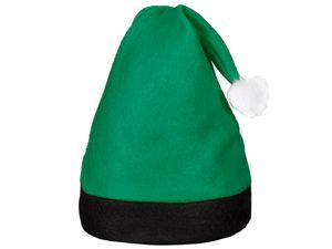 Weihnachtsmütze Nikolausmütze grün mit schwarzem Rand 42