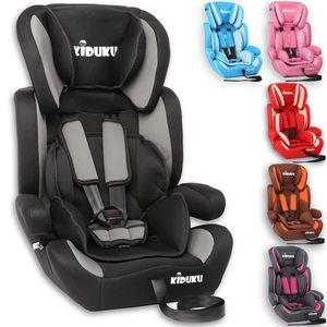 KIDUKU® Autokindersitz Kinderautositz Autositz Kindersitz 9-36kg Gruppe 1+2+3 Schwarz/Grau