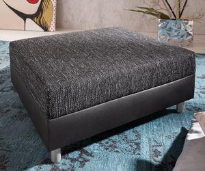 DELIFE Sofa-Hocker Clovis Schwarz Modul B98 x T83 Kunstleder Sitzhocker
