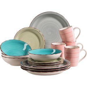 Mäser 931499 Lumaca Vintage Geschirr-Set für 4 Personen, handbemaltes Keramik Kombiservice, Steingut, bunt, 16-teilig (1 Set)