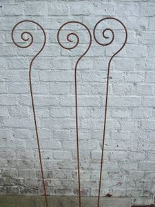 3 Stück, Gartenstab Schnecke, Rankstab, Rosenstab, Rost,150 cm, Eisen