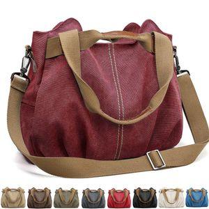 Handtasche Damen Canvas Schultertasche Multifunktionale Umhängetaschen Casual Hobo Groß Taschen für Arbeit Schule Beach Shopper Weinrot