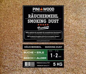 PINI 5 Kg Räuchermehl Buche und Erle gemischt 1-2 mm Smoking Dust Räucherspäne