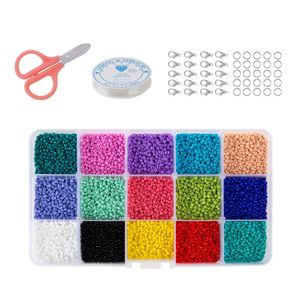 1 Kasten 15 Farben 3500 / 7500pcs Glasgefäßkorne 2 Arten Fester 3mm 7500pcs Größe solide 3mm 7500St
