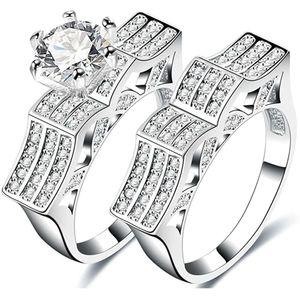 Mllaid Weißgold-Designer-Verlobungsringe mit passendem Hochzeitsband, einzigartiger CZ-Solitär-Ring