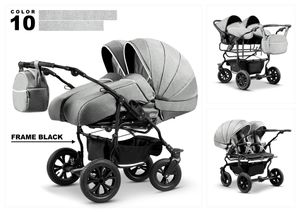 Mikado Zwillingswagen Duet Lux Geschwister 3in1- Set Wanne Buggy Babyschale Zubehör 10