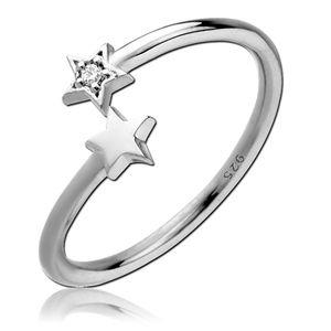 viva-adorno Gr. 54 (17,2 mm Ø) Damen Ring Fingerring Verlobungsring 925 Sterlingsilber offen Sterne Zirkonia SR39,