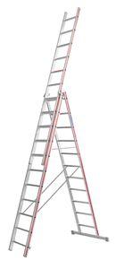 Hymer Allzweckleiter, dreiteilig, 3x11 Sprossen, senkr. Höhe 5,11 m, Reichhöhe 5,91 / 8,46 m, Gewicht 21,8 kg