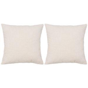 anlund Kissen-Set 2 Stk. Velours 60 x 60 cm Gebrochen Weiß