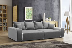 Big Sofa Couchgarnitur REGGIO Megasofa mit Schlaffunktion Weiss-Grau