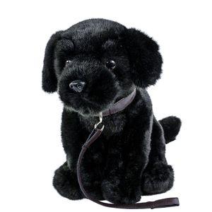 Labrador Kuscheltier schwarz sitzend mit Leine 35 cm Plüschtier Hund Teddys Rothenburg