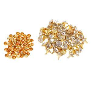 50 Stück Strass Nieten Größe 7mm Farbe Gold