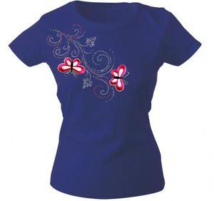 Girly-Shirt mit Strasssteine Glitzer Applikation   Schmetterlinge Butterfly   G12853   Gr. XS-2XL Color - Navy Größe - S