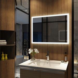 Meykoers LED Badspiegel 60x80cm Badspiegel mit Beleuchtung 2 Lichtfarbe 3000/6500K Lichtspiegel Badezimmerspiegel Wandspiegel mit Tastenschalter und Anti-beschlag IP44 energiesparend
