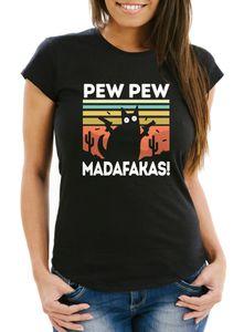 Damen T-Shirt Pew Pew Madafakas! schwarze Katze Spruch Meme Frauen Fun-Shirt lustig Moonworks® schwarz L