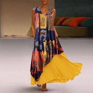 Frauen Vintage Patchwork Print Ärmellose Baumwolle V-Ausschnitt Kleid Maxi-Kleider Größe:5XL,Farbe:Gelb