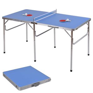 COSTWAY Tischtennisplatte Tischtennis Platte Tischtennistisch klappbar 152.4x76.2x76.2cm inkl Schlaeger+Baelle+Netz
