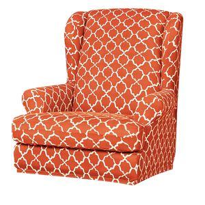 Ohrensessel Bezug elastisch Sofabezug Stretch Couchbezug Sesselbezug Sesselhusse Sofaüberwurf Orange Mehrfarbig Modern Gitter Ohrensessel Schonbezug