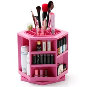 Make Up Kosmetik Box Kosmetikständer 360 Grad Drehbar Organizer Sortierkasten für Aufbewahrung von Kosmetik Make-Up- Ständer in der Farbe pink