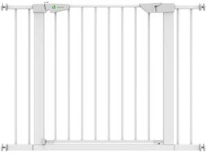 VOUNOT Türschutzgitter für Kinder Hunde Katzen 76-108 cm, Treppenschutzgitter, Auto-Close, ohne Bohren, Weiß
