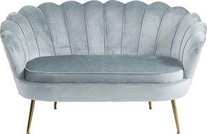 SalesFever Muschel-Sofa | Bezug Samt-Stoff | Gestell Metall goldfarben | B 136 x T 76 x H 78 cm | hellgrau
