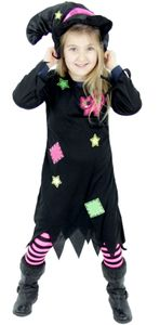 Süßes Hexenkostüm für Mädchen Kinder Hexenhut Hexen Halloween Kostüm Gr. 86-128, Größe:110/116