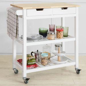 SoBuy Küchenwagen mit 2 Schubladen Rollwagen Konsolentisch Weiß FKW68-WN