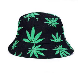 Uni Sonnenhut Bucket Hat Fischerhut Cannabis Muster Mütze