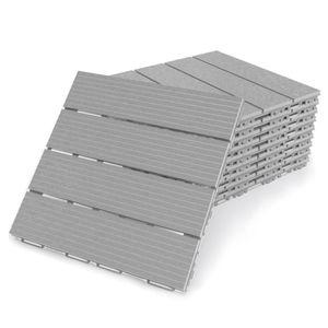 Terrassenfliesen Fortena (grau) 30x30cm, 8 Stück, 0,72 qm, Anti-Rutsch-Oberfläche, Klickfliesen aus Kunststoff in Holzoptik, Bodenbelag, witterungsbeständig: Grau