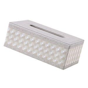White Grid Leder Tissue Box Desktop Lagerung Inhaber Bin Wohnzimmer