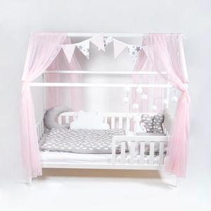 ALCUBE Hausbett-Deko mit Betthimmel Wimpelkette und LED-Lichterkette - Rosa