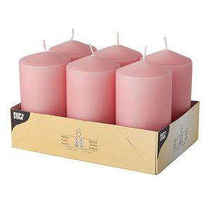 Stumpenkerzen Ø 60mm / 115mm (6St), Farbe:rosa