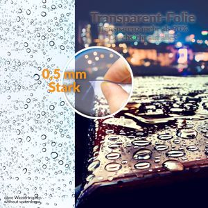 Tischschutzfolie Glasklarfolie Transparent PVC 0,5 mm Stark Meterware abwischbar 100x140 cm